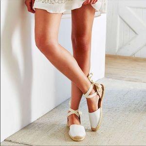 Soludos Anthro ankle Tie espadrille leather sandal